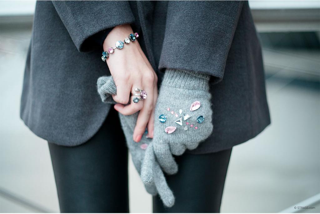 Strick und Kristalle im Winter