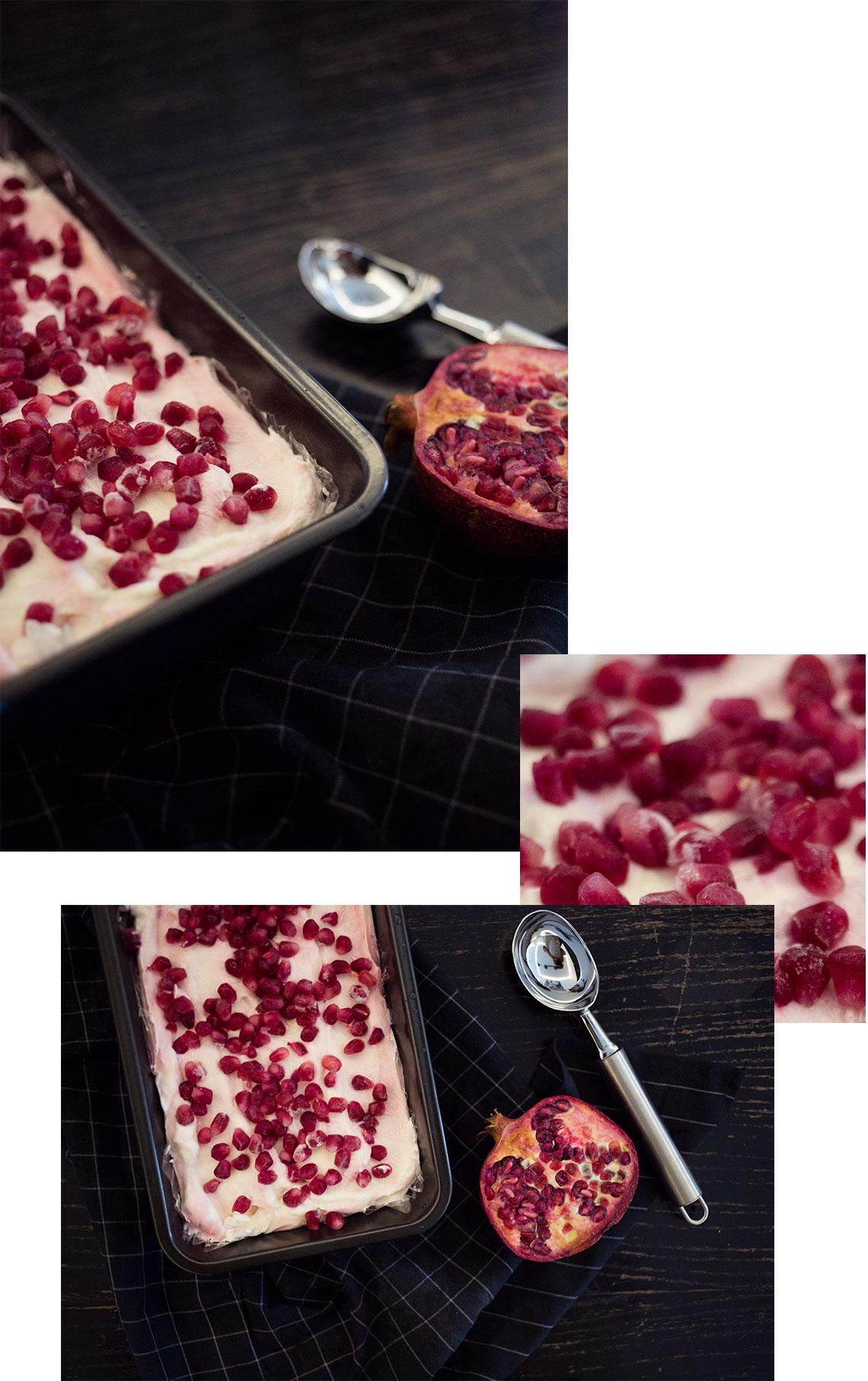 DIY Eis mit Himbeeren und Granatapfelkernen