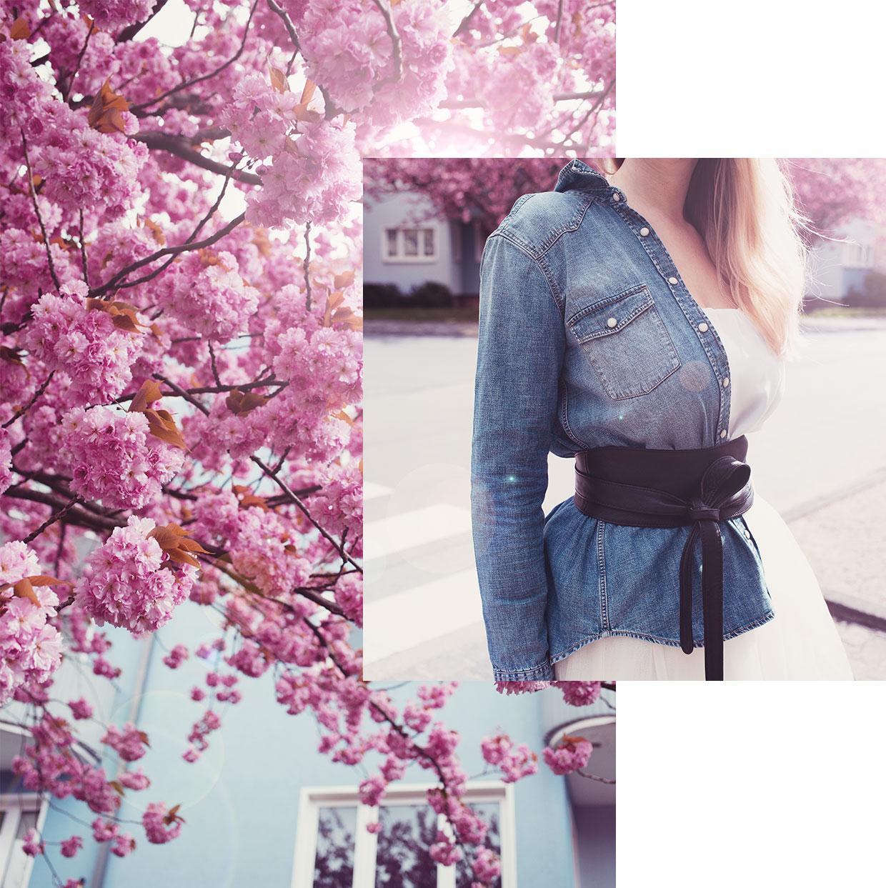 Frühjahrslook mit Kirschblüten und Jeanshemd